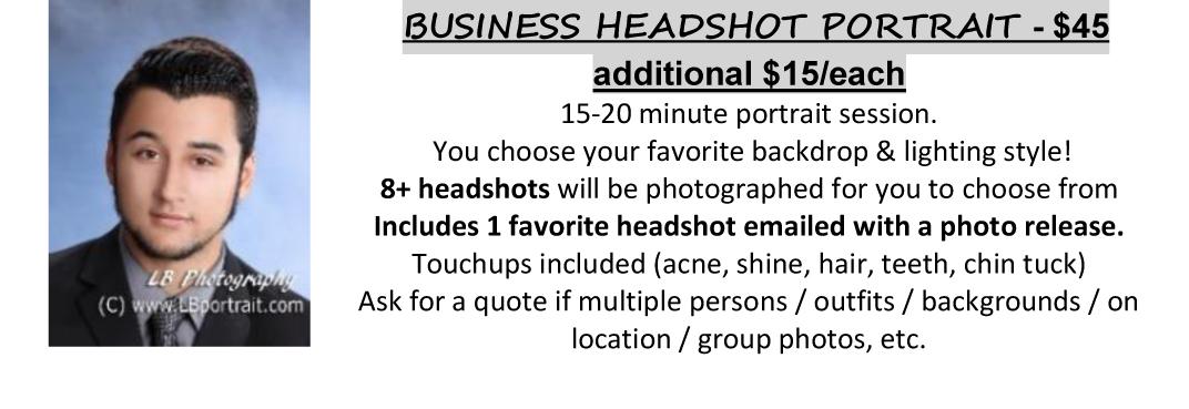 Business Portrait Headshot Pricing